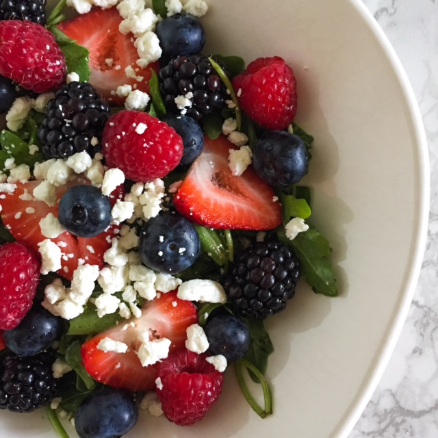 Image result for arugula salad with berries and garbanzo beans images