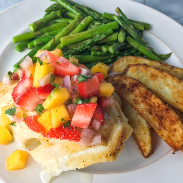 Broiled Cod with Strawberry-Mango Salsa + Seasoned Oven Fries ...